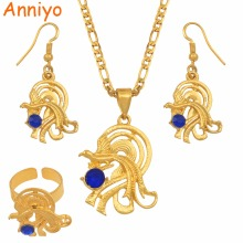 Anniyo Bird with Blue Stones Papua New Guinea Necklace and Earrings Ring sets for Women PNG Style Jewelry Party Gifts #097606BE
