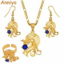 Ожерелье и серьги anniyo с синими камнями Папуа Новая Гвинея