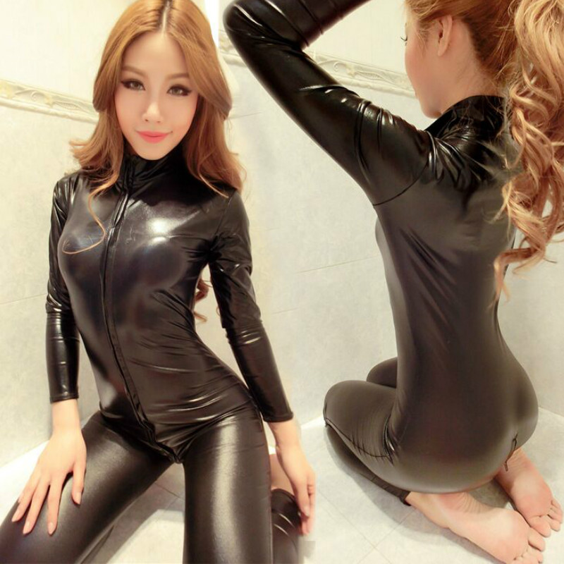 New Women Jumpsuit Spandex Sexy Black Cat Latex Catsuit Costumes Girls Body Suits Fetish Leather Dress Girl Cosplay Lingeries Chemisier