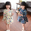 2016New arrive Spring Flowers Girls Dress Princess Baby Dress Floral Baby Casual Paty Dress for 2-6 Years Kid cotton Dress