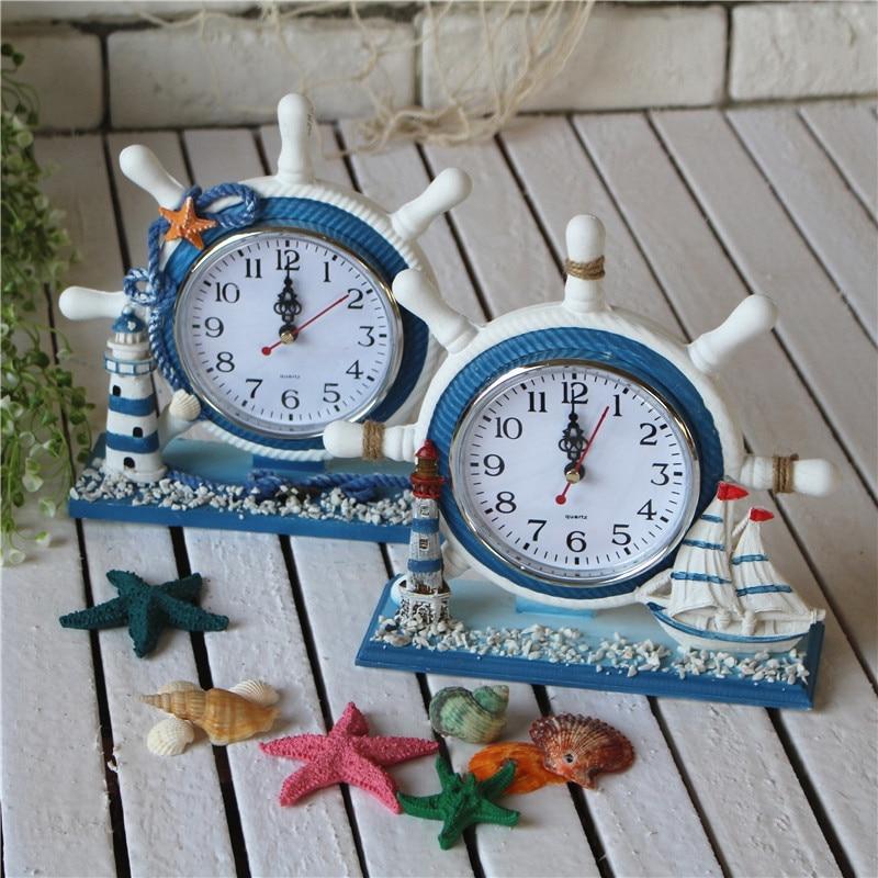 Средиземноморский Стиль дома электронные настольные часы штурвала Спальня украшения дома настольные часы Винтаж настольные часы horloge murale