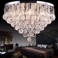Moderne européenne plus grande de luxe led restaurant lampe en cristal clair rond lampe de plafond en acier inoxydable dia40/50/60 cm ronde lampes