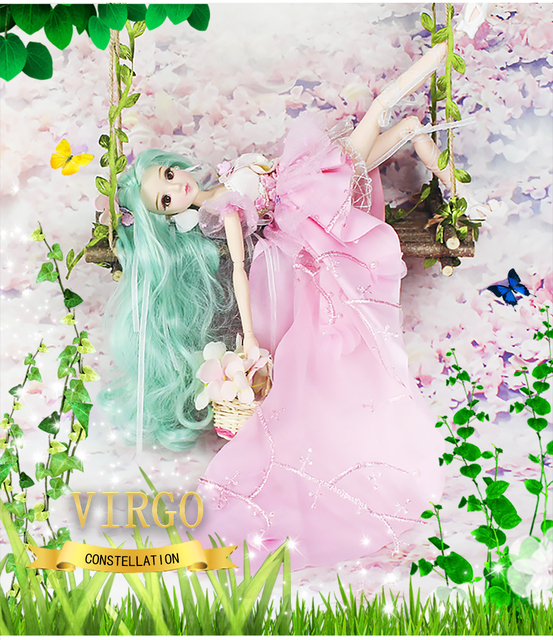 MMG Girl fortune days BJD doll 12 constellations virgo with pink dress shoes stand necklace Flower basket joint body toy gift 1