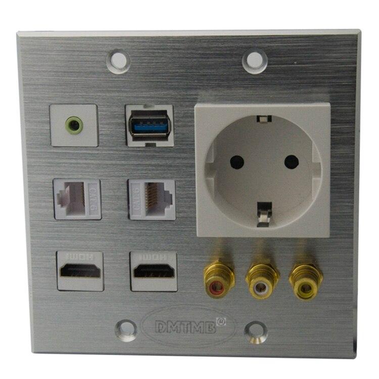 Алюминиевая лицевая пластина 120X120 мм с HDMI 3,5 мм аудио 3RCA AV USB AC мощная настенная пластина и поддержка DIY