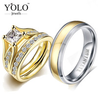Pure Titanium Gold Rings for Couple Crown Gold Vintage Rings for Lovers Luxury Cubic Zircon Ring for Girl Titanium Ring for Men