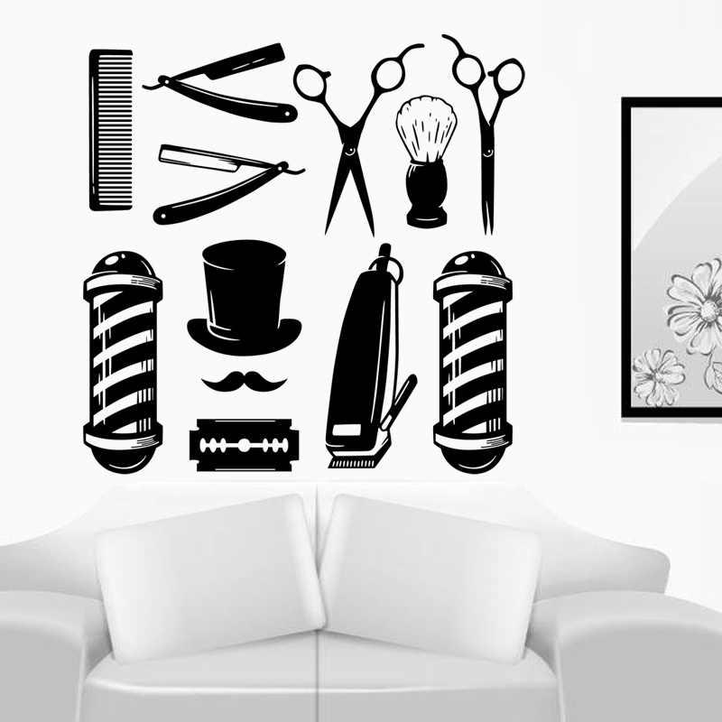 """DCTAL Парикмахерская наклейка Chop хлеб наклейка стрижка инструмент плакаты """"цирюльник"""" Виниловые настенные художественные наклейки Декор Украшение окон Фреска"""