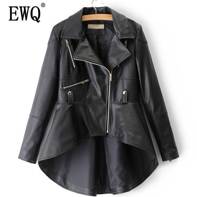 [[EWQ] Mùa Xuân 2019 Mùa Đông Người Phụ Nữ Màu Trơn Dài Tay Cổ Bẻ Dây Kéo Không Đều HEM Rời PU áo Khoác LD0325