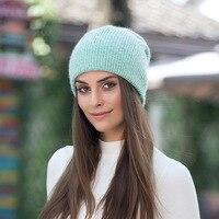 الخريف الشتاء الحياكة الكشمير قبعة للرجال النساء مجموعة الرأس القبعات قبعة أنغولا الشعر سميكة الحرارية التزلج بينيس زوجين قبعات