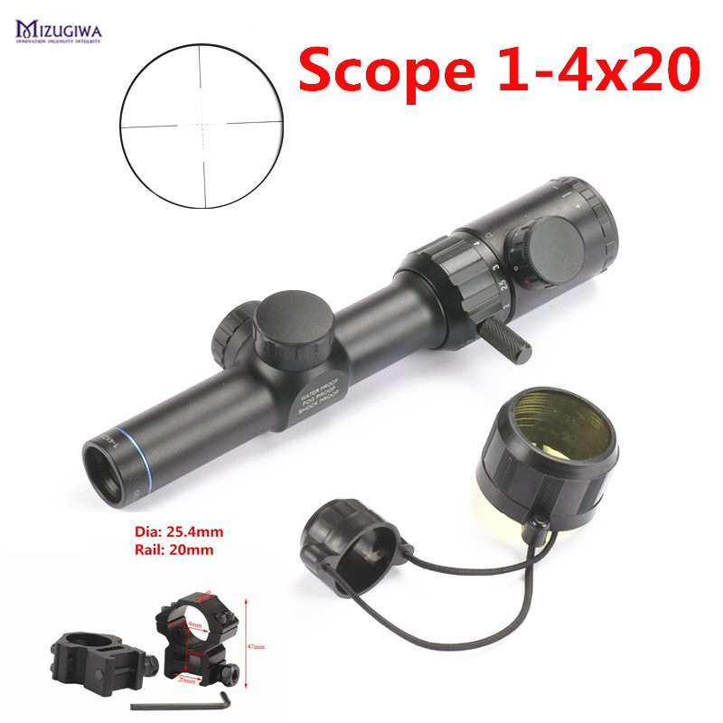 1-4x20 Rifle Scope Red Green illumination Range Finder Reticle BDC Air Rifle Sight Airsoft Ring 25.4mm Rail 20mm/11mm Mount jj airsoft 1 4x24e red green reticle long eye relief illumination rifle scope tan glass partition