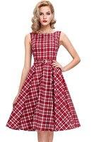 Casual Summer Vintage Check Print Swing Red Midi Dress New Elegant Women Sleeveless High Waist Medieval