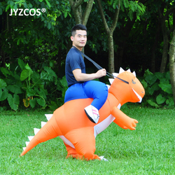 JYZCOS Purim Costumes Airblown Fan Operated T-Rex Inflatable Dinosaur Suit Outfit Costume dress for Kids and Adults Dino Rider