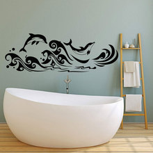 Vinyl wall applique dolphins surf marine style bathroom stickers, girl beautifully decorated YS10
