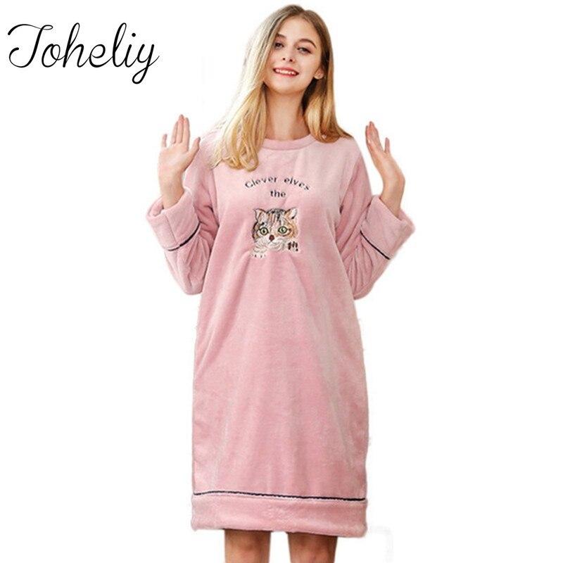Queenplus Women Winter Nightgown Sleepshirts 2018 New Design Brand ...