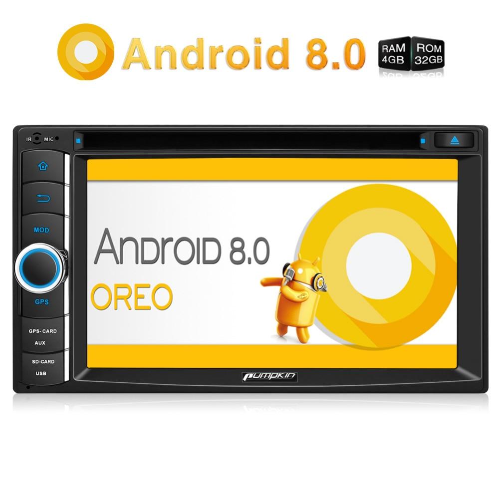 Citrouille 2 Din 6.2 ''Android 8.0 Voiture Lecteur DVD GPS Navigation Qcta-Core 4 GB RAM Voiture Stéréo wifi 4G DAB + FM Rds Radio Headunit