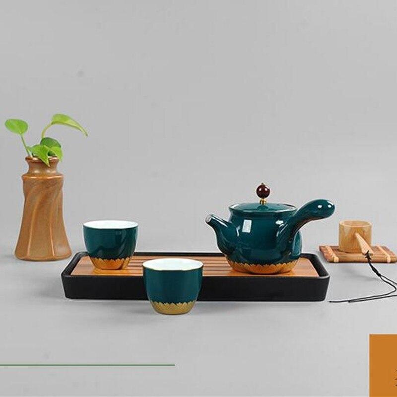 27 5 2 8cm Chinese kung fu tea set nature bamboo ceramic tea tray with hand