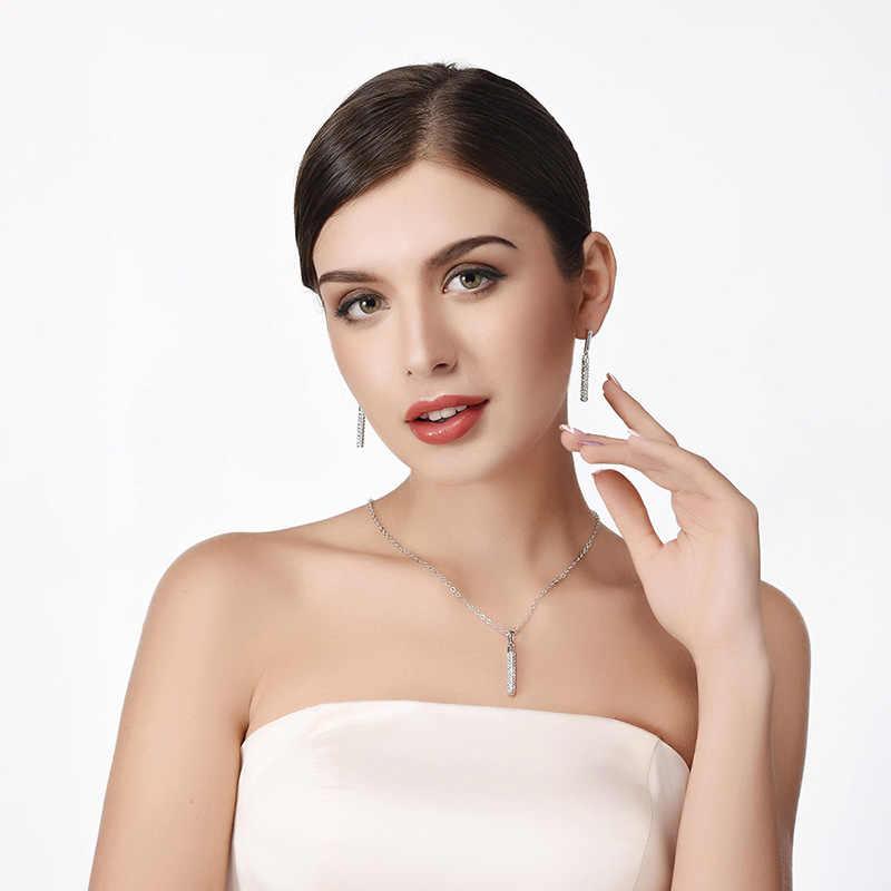 U7結婚式ネックレスとイヤリングセットクリスタル用女性パーティーシルバー/ゴールドカラーシリンダージュエリーセット卸売s634