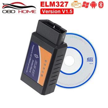 Obd2 Mini Elm327 Bluetooth OBD2 V1.5 Elm 327 V 1,5 OBD 2 herramienta de diagnóstico escáner Elm-327 OBDII adaptador Auto herramienta de diagnóstico