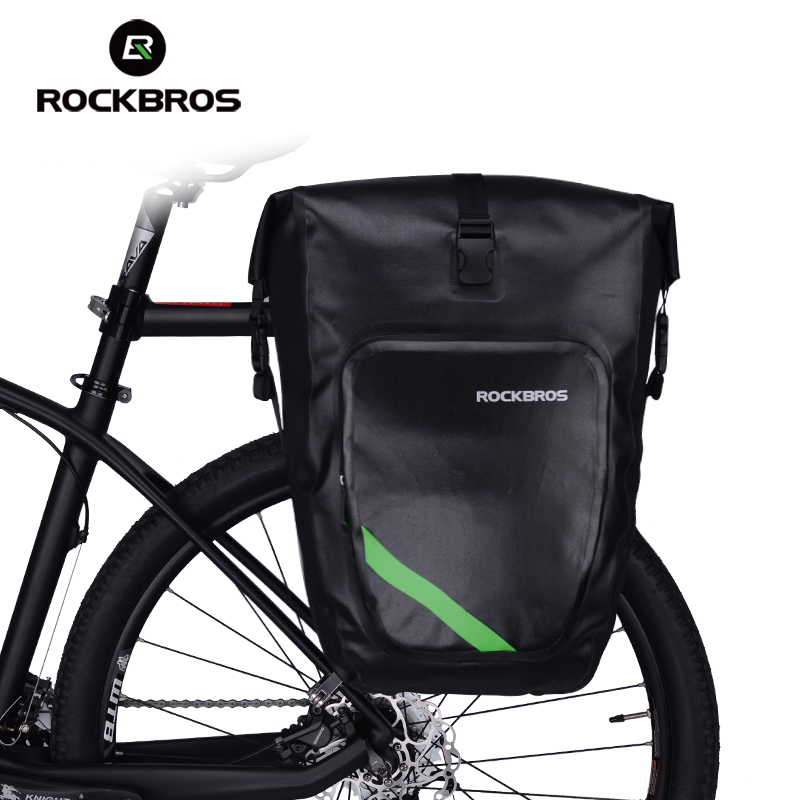Rockbros Bicycle Rack Bag Full Waterproof High Capacity Mountain Bike Accessories Cycling Rear Basket Panniers Bike Luggage Bags roswheel mtb bike bag 10l full waterproof bicycle saddle bag mountain bike rear seat bag cycling tail bag bicycle accessories