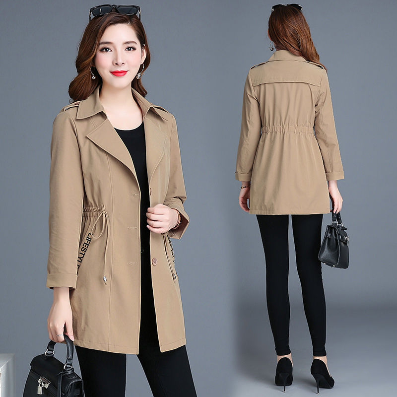 Women Long   Trench   Single Breasted Big Size Wist Sexy Autumn Solid Coat Pocket Long Sleeves V-Neck Apparel Top Fashion Overcoat