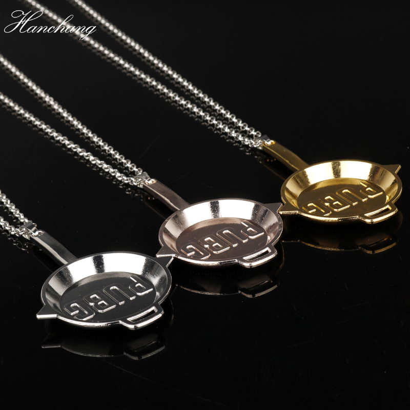 HANCHANG New Game PUBG INVITATIONAL Logo Pans Weapon Pendant Necklace Playerunknowns Battlegrounds Necklace Men New Year Gift
