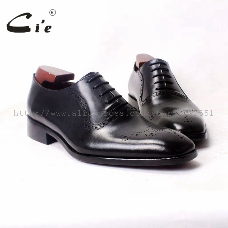 cie Square Plain Toe Black Oxford 100%Genuine Calf Leather Bottom Outsole Breathable Bespoke Men Leather Shoe Flat HandmadeOX378