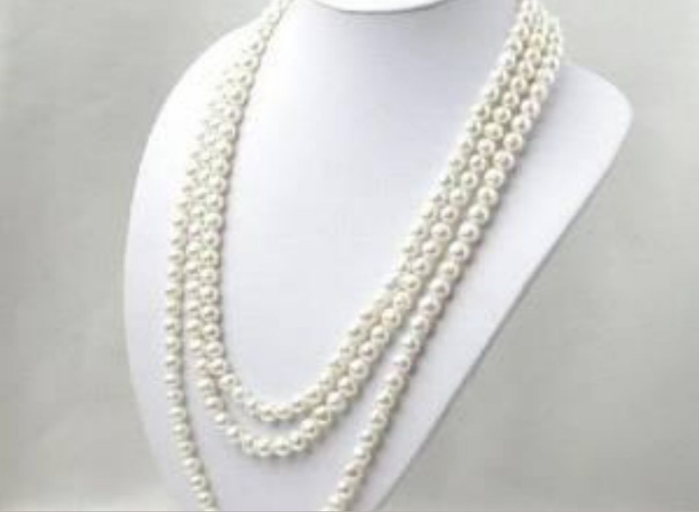 NEW SUPER LONG 120 INCH 7-8MM WHITE AKOYA CULTURED PEARL NECKLACE AA000777^^^@^Noble style Natural Fine jewe FREE SHIPPING