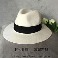 2017 Europa e In America marca double black metal logo bianco jazz naturale onda lana, cappello elegante femmina cappello a tesa