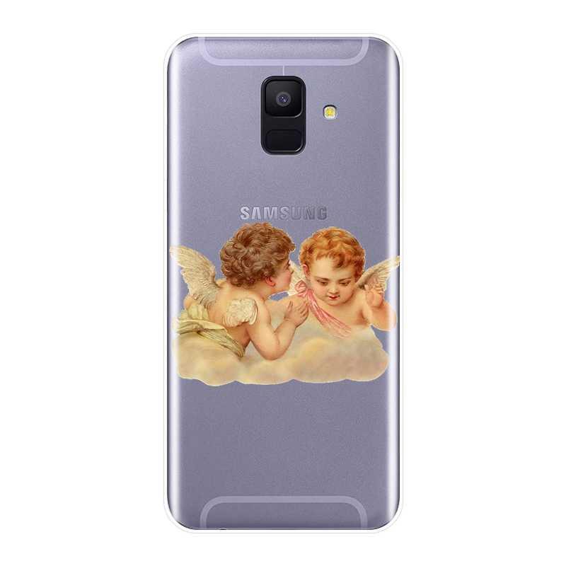 Мягкий силиконовый чехол для телефона для samsung Galaxy A3 A5 2016 2017 A6 A7 A8 2018 мальчик девочка Ангел задняя крышка для samsung A6 A8 плюс 2018