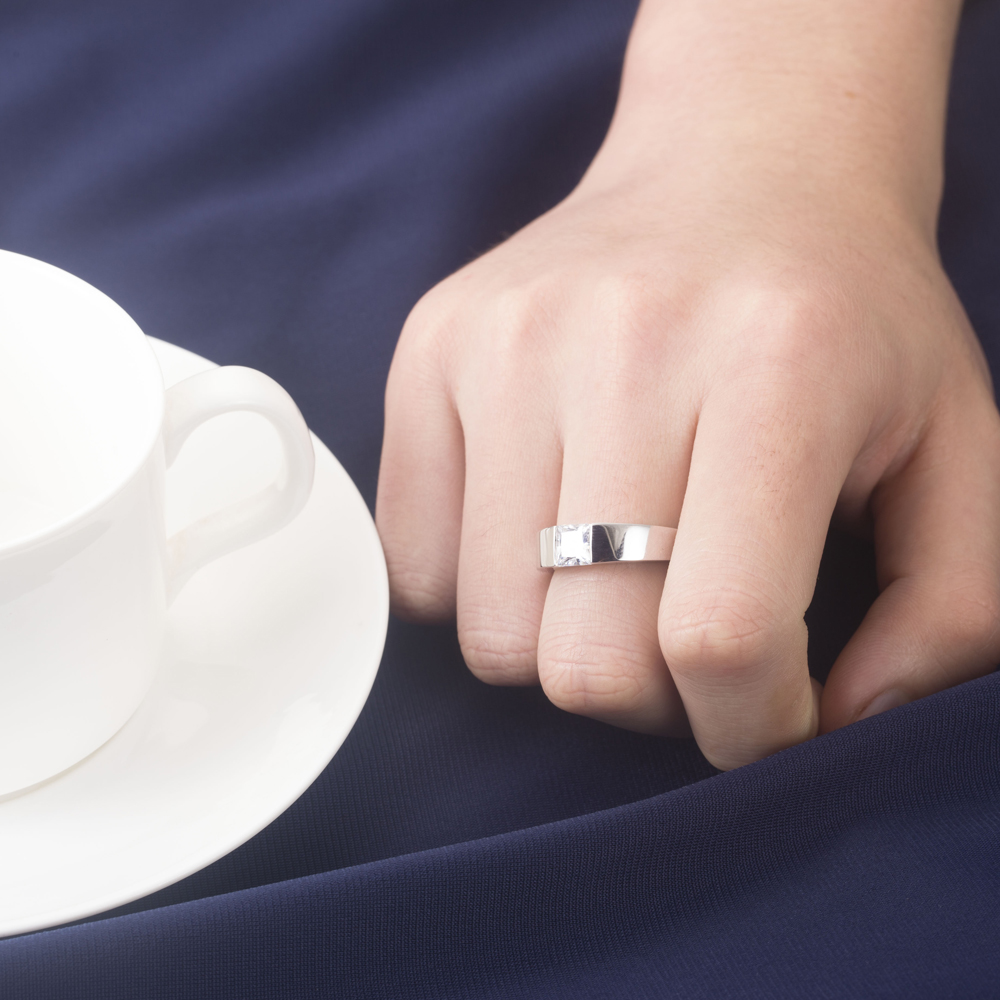 1CT Princess Cut Male Men\'s Solid 18K White Gold Ring White Gold ...
