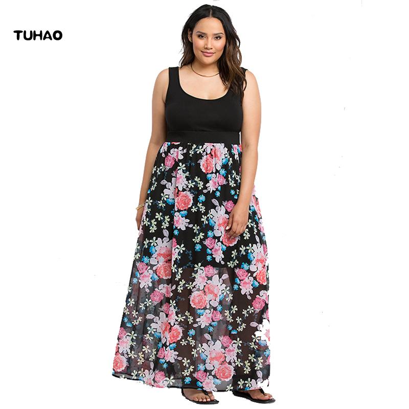 TUHAO Vestido Clothing Plus Size 6XL 8XLWomen Chiffon Print maxi Long Flare print Dress 2018 summer Female bohemian Dresses NA04