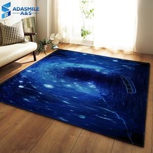 Image 2 - Tapis nordiques doux flanelle 3D imprimé petits tapis salon galaxie espace tapis tapis anti dérapant grand tapis pour salon décor