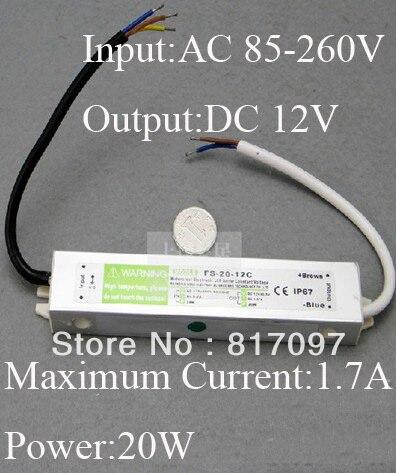 LED conducteur alimentation transformateur entrée 60 W 85 V-260 V sortie 12 V alimentation LED adaptateur externe alimentation pilote étanche IP67