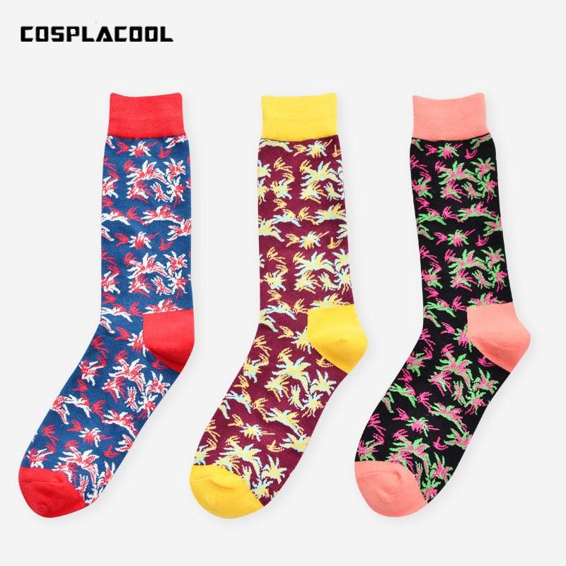 [COSPLACOOL]Creative Happy Socks Men Unisex Colorful Flowers Novelty Socks Cotton Harajuku Funny Socks Mens Big Size Sokken