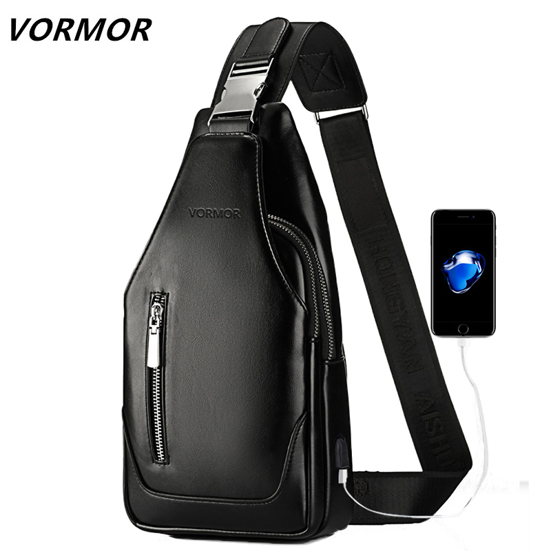 VORMOR Brand Fashion Black Brown PU Leather Sling Bag For Men Solid Patchwork Leisure Men Messenger Bag Shoulder Bags цены онлайн