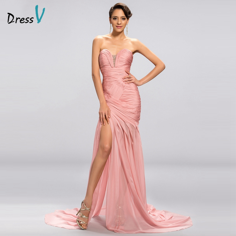 Dressv 2017 Mermaid Long   Evening     Dress   Court Train 30D Chiffon Prom   Dress   Split-Front Sweetheart Floor Length Long   Evening     Dress