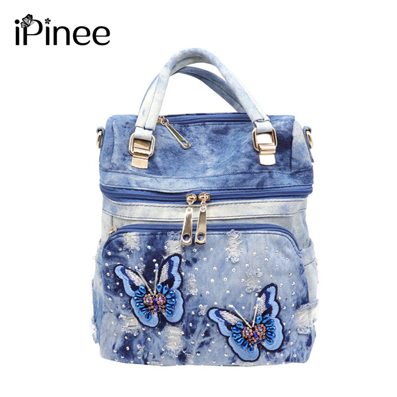 iPinee 2019 high quality Vintage Washed Denim Backpack Multifunctional Travel Bag for girls school bags Mochila Bolsa