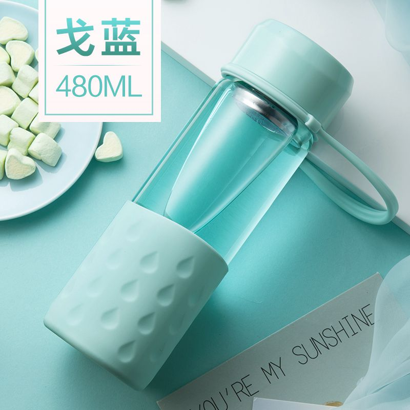 Портативная стеклянная бутылка для воды креативный Чайный фильтр колбы для офиса путешествия кофе сок силикагель рукав стеклянные колбы BPA бесплатно - Цвет: 480ml blue bottle