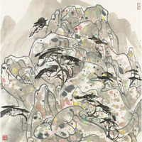 oil painting print on canvas Chinese style Wu Guanzhong Work Rong Mountain Turquoise