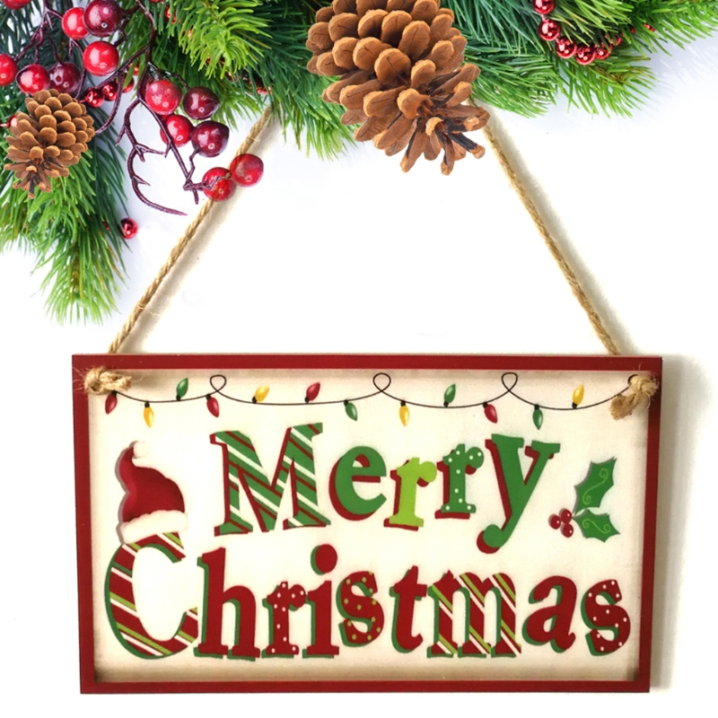 Christmas Wood Signs.Us 5 32 20 Off Happy Christmas Wooden Plaque Board Door Wall Hanging Wood Sign Home Decoration In Plaques Signs From Home Garden On