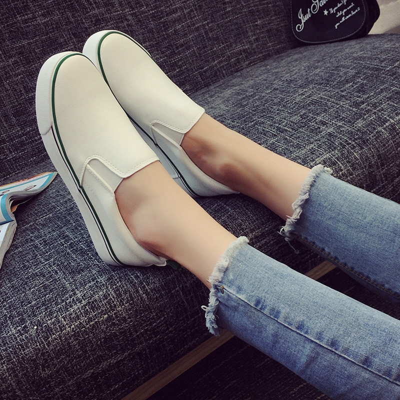 NEW 2017 fashion Brand Women Loafers Leather Flats Shoes Woman Casual Slip on Creeper Platform Shoes Ladies Comfort shoes Size40