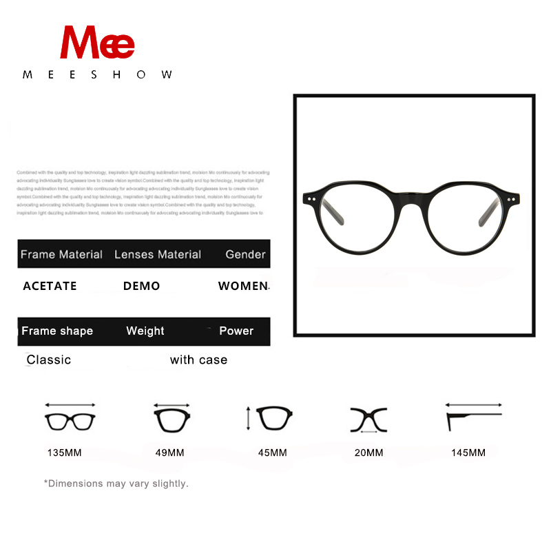26e455e403 2019 Meeshow Acetate Eyeglasses Myopia Optical Frame Men women retro glasses  prescription glasses customized Lens 1028-in Prescription Glasses from  Apparel ...