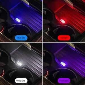 Image 1 - 1/3/4/7Pcs Auto Licht Mini Usb Plug Licht Auto interieur Sfeer Licht Lamp In Auto Ambient Neon Kleurrijke Auto Accessoires