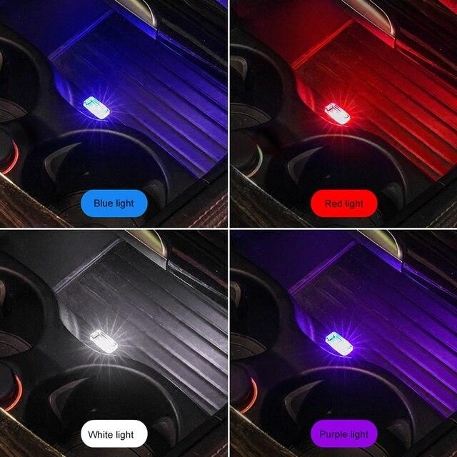 1/3/4/7Pcs Auto Licht Mini Usb Plug Licht Auto interieur Sfeer Licht Lamp In Auto Ambient Neon Kleurrijke Auto Accessoires