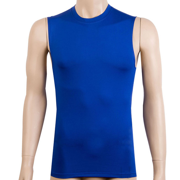 Summer Men's Tight Fitness Solid Color O-Neck Top Shirt Compression Skin Tops