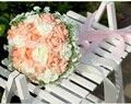 2017 Дешевые Свадебные/Невесты Букеты Шампанское и Белое Свадебное Ручной Искусственный Букет Роз де mariage рамо де-ла-бода