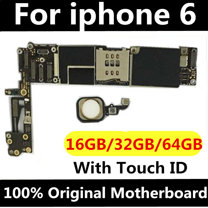 100% Original unlocked for iphone 6 Motherboard With Touch ID/without Touch ID,for iphone 6 Logic boards,16gb / 64gb / 128gb