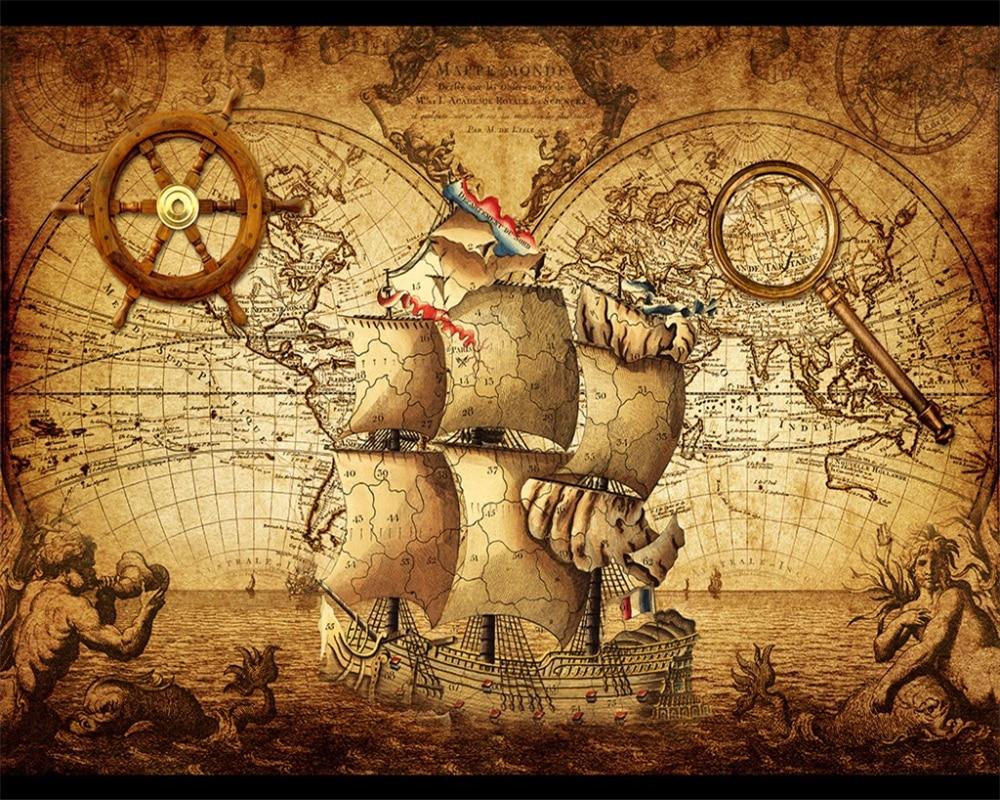 Beibehang Wall Paper Retro Sailing World Map Mural Living