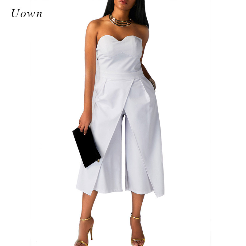 Wide Leg Jumpsuit Rompers Women Off the Shoulder Split Front Dressy Loose Long Pants Black White Strapless Jumpsuits for Ladies