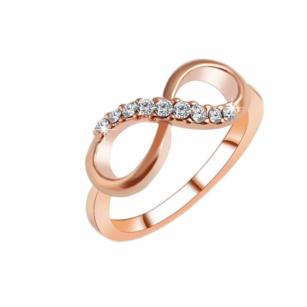 New Hot !!! Fashion Fine Excellent Jewelry Zircon Gold Dazzling Unlimited 8 Characters Gift Wedding Bride Rings For Women