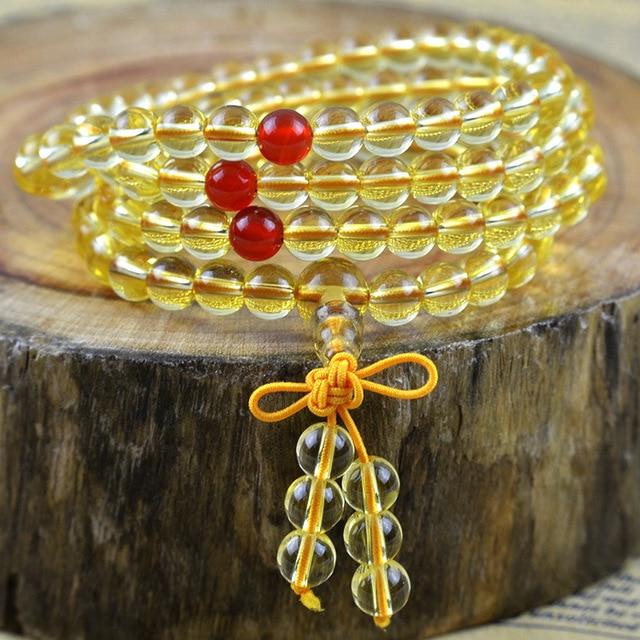 Hot Sale Natural 6mm   lover Vintage Grade A Citrine  Beads  Bracelet Bohemia Style Natural Stone Strand Bracelets 108pcs bead